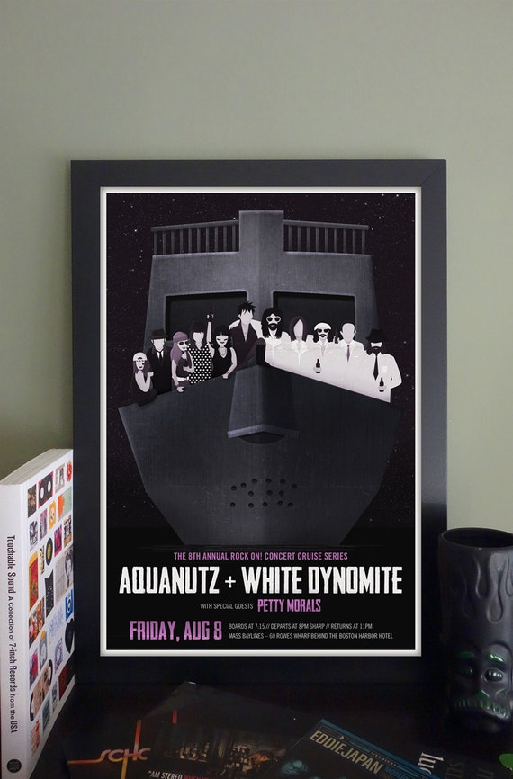 "Aquanutz/White Dynomite/Petty Morals Booze Cruise Gig Poster // Boston, MA 13""x19"""