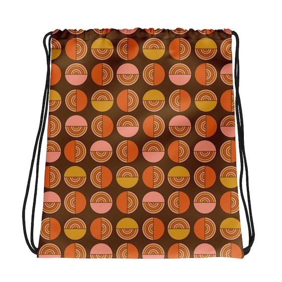 70s Circles Drawstring Bag
