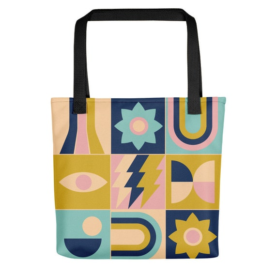Blue and Gold Design Tote