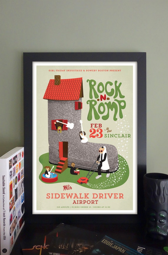 "Rock 'n' Romp Gig Poster with Sidewalk Driver/Airport // The Sinclair, Cambridge, MA 13""x19"""
