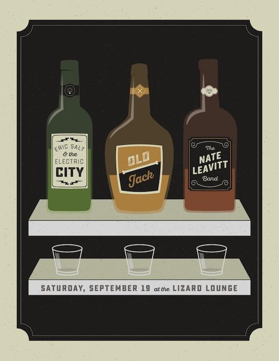 Eric Salt / Oldjack / Nate Leavitt gig poster  // Lizard Lounge, Cambridge