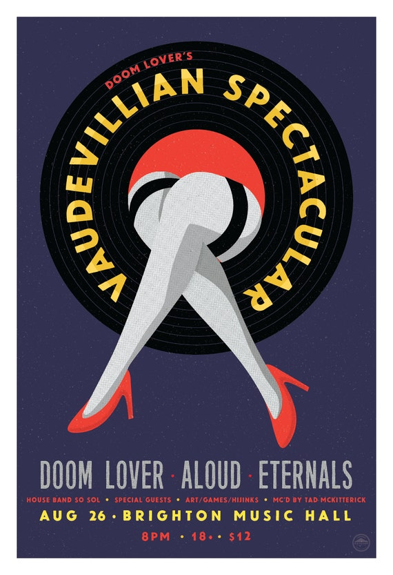 Doom Lover's Vaudevillian Spectacular Poster //  Brighton Music Hall, Brighton MA