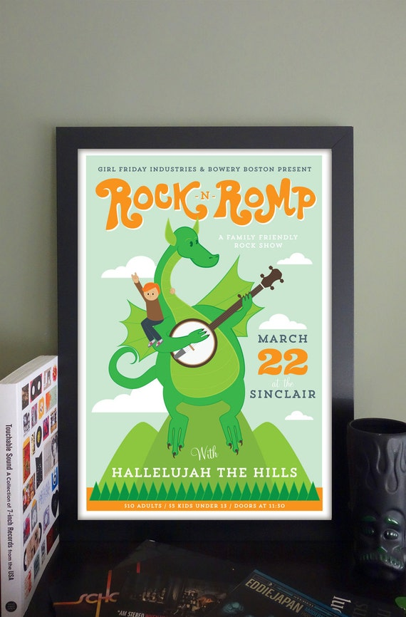 "Rock 'n' Romp Gig Poster with Hallelujah The Hills/Man Alive! // The Sinclair, Cambridge, MA 13""x19"""