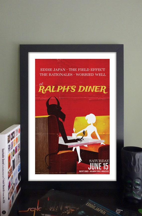 "Eddie Japan Gig Poster // Ralph's Diner Worcester, MA 13""x19"""