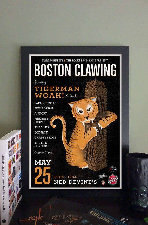 "Boston Clawing Gig Poster // Ned Devine's Pub, Boston, MA 13""x19"""