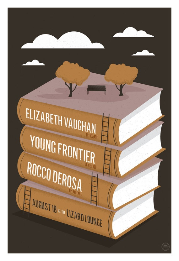 Young Frontier, Elizabeth Vaughan, Rocco DeRosa Gig Poster // Lizard Lounge, Cambridge, MA