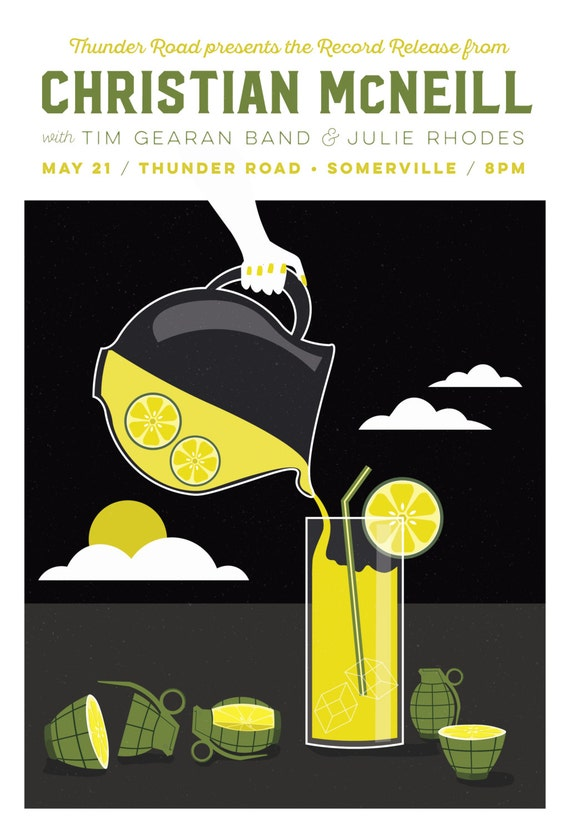Christian McNeill Gig Poster //  Thunder Road, Somerville, MA