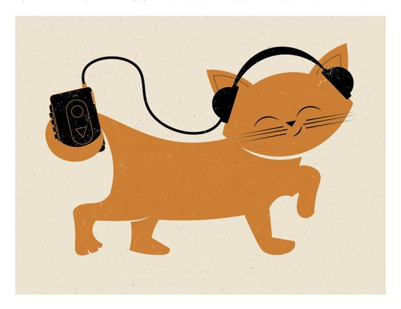 Kitty with Headphones