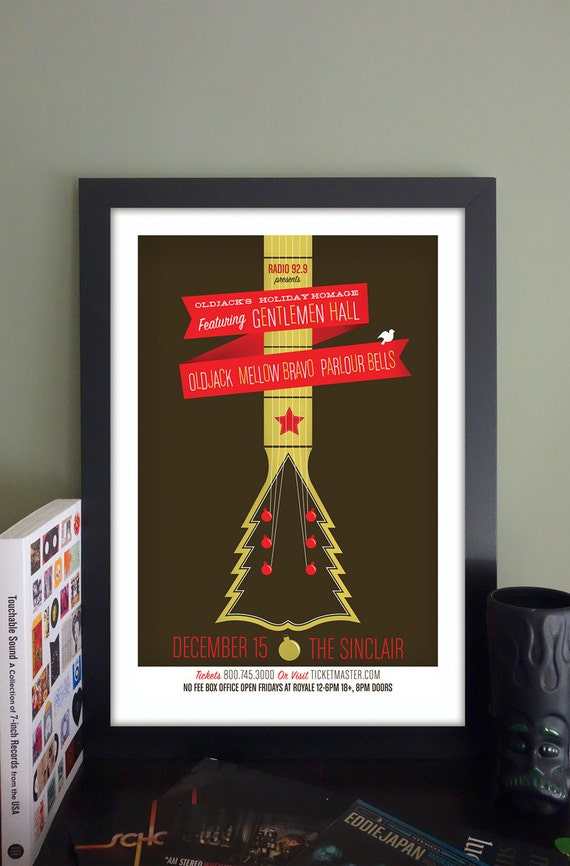 "Oldjack's Holiday Homage with Gentlemen Hall Gig Poster // The Sinclair, Cambridge, MA 13""x19"""