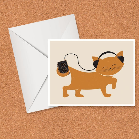 Cat with Headphones card