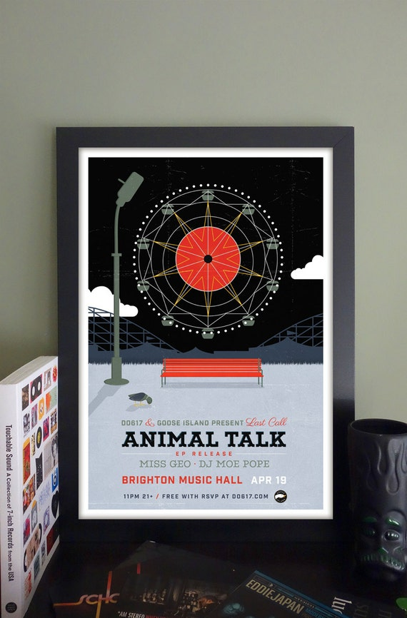 "Animal Talk Gig Poster // Brighton Music Hall, Allston, MA 13""x19"""