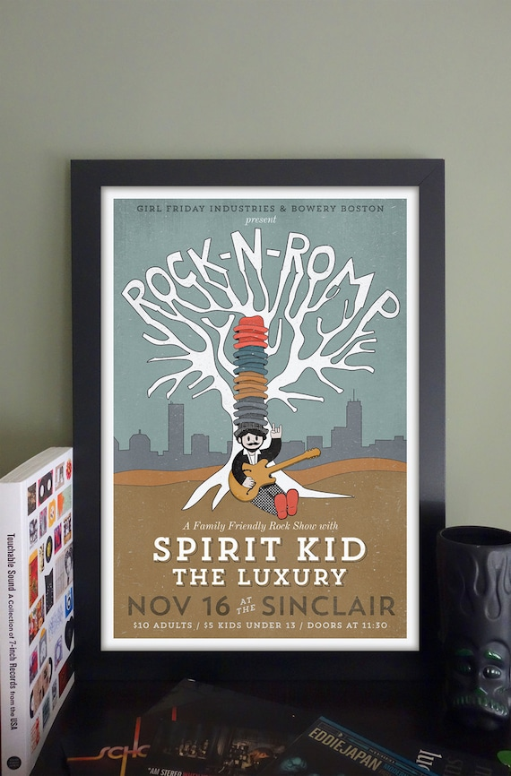 "Rock 'n' Romp Gig Poster with Spirit Kid, The Luxury // The Sinclair, Cambridge, MA 13""x19"""