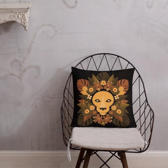 Floral Lion Premium Pillow
