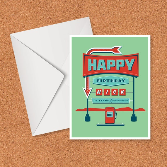 Customizable Birthday Card, Retro Gas Station