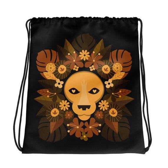 Floral Lion Drawstring bag