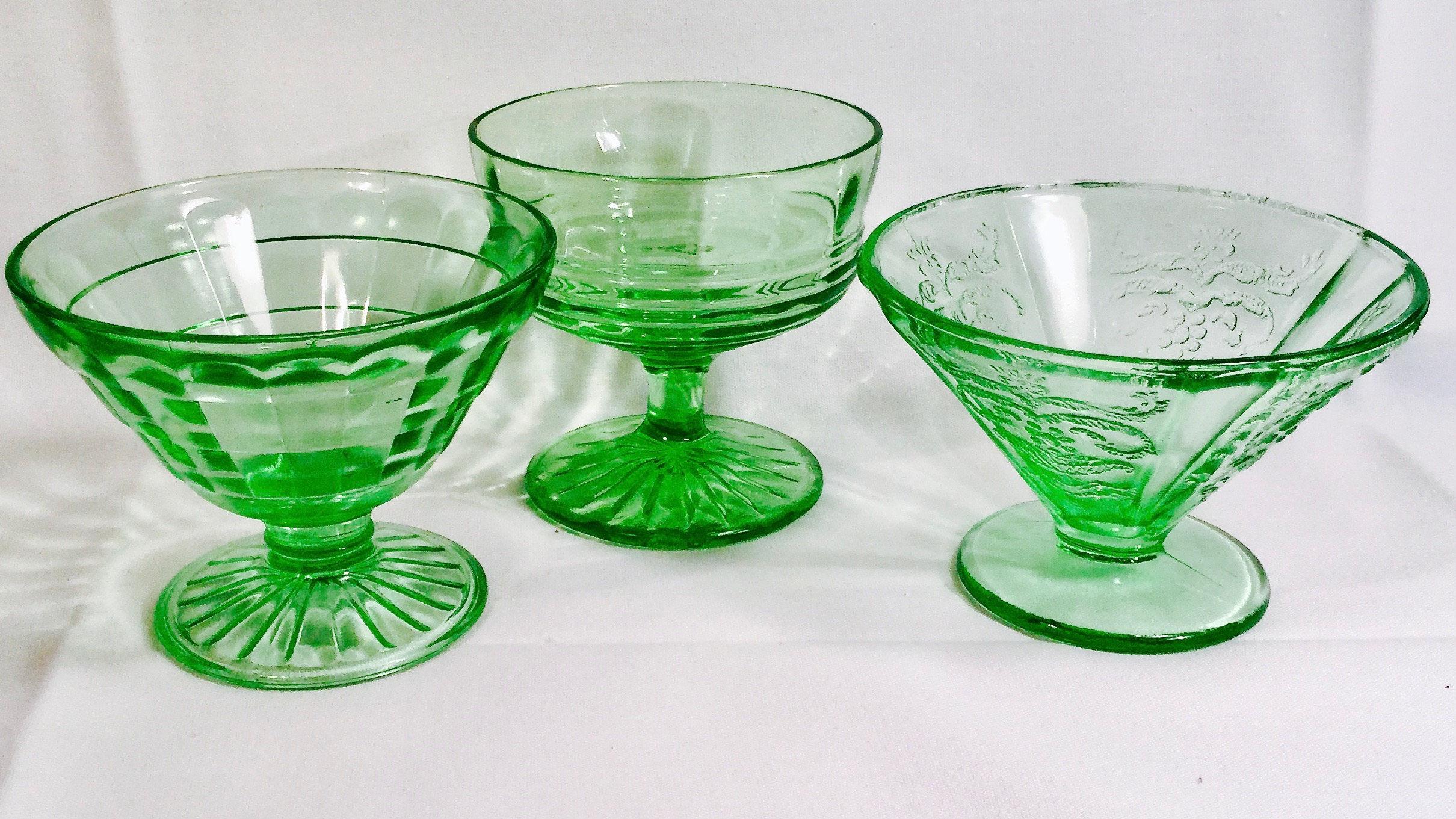1930's Uranium Glass Sherbet cups   Etsy