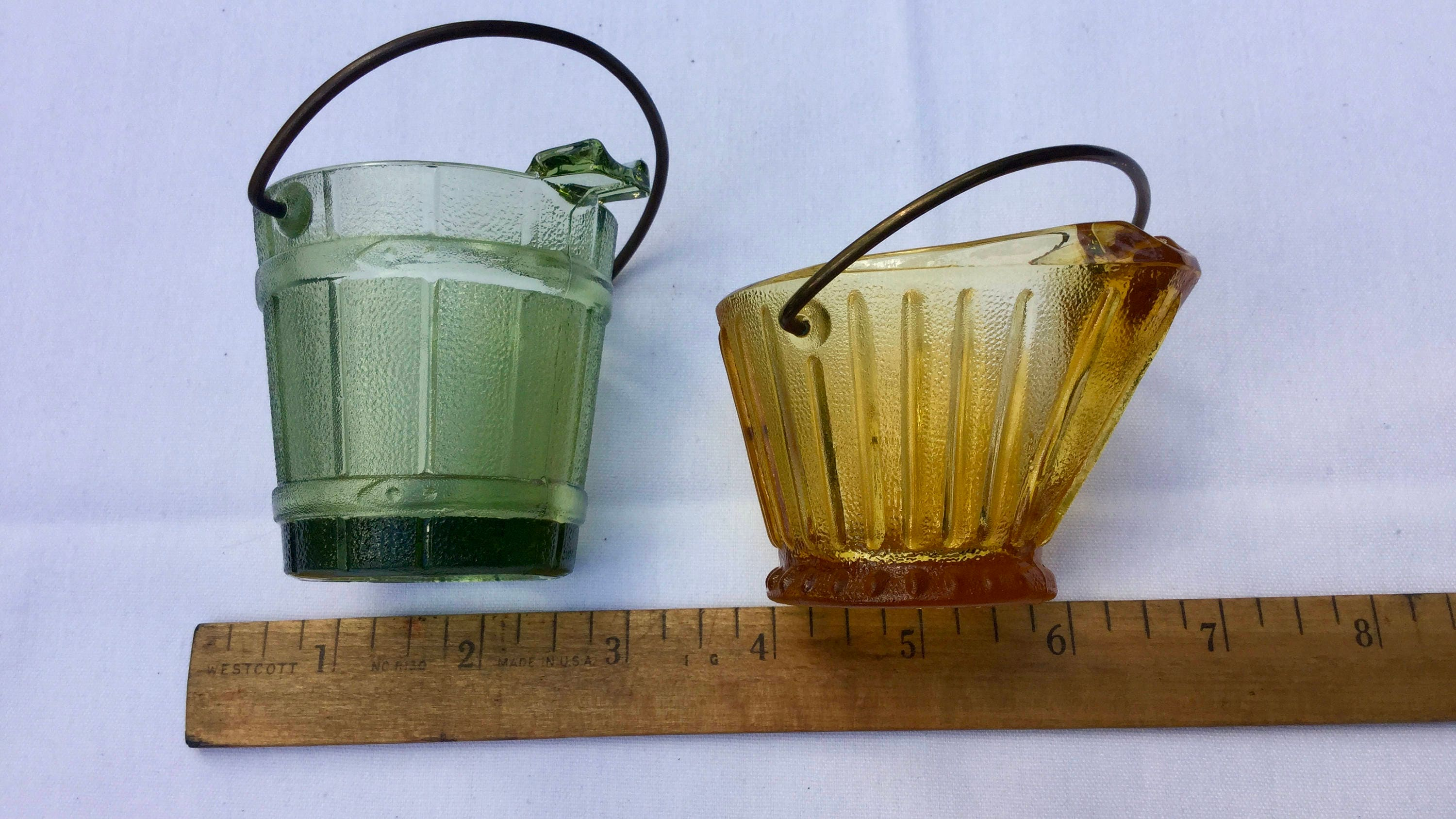 Continental Can Company Green or Amber Glass Coal Bucket style Ash