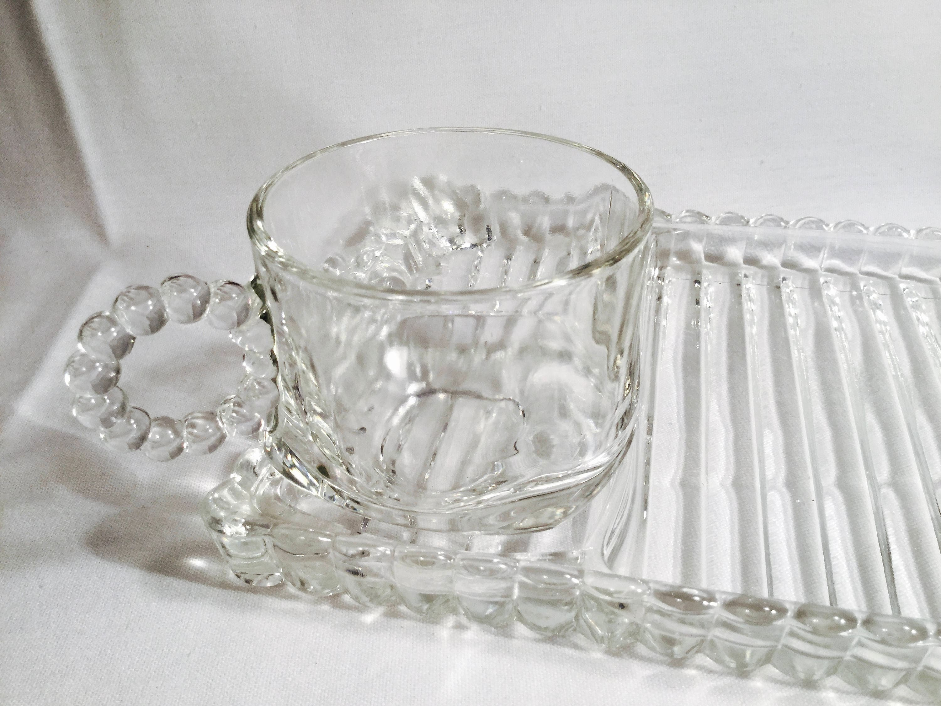 Two sets Vintage 1950s Hazel Atlas Orchard Crystal snack tray and ...
