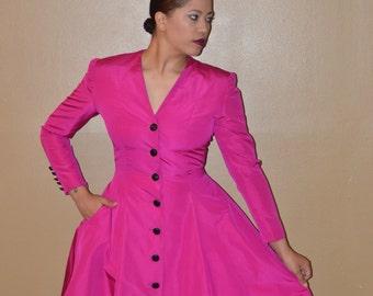 864ab4f86fe Oscar de la Renta Magenta Silk Faille Coat Dress Black Faceted Buttons  Zppered Sleeves Authentic Vintage