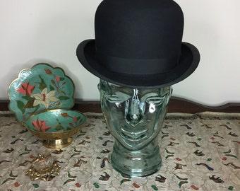 Vintage Estate GA Dunn Co LTD Black Bowler Derby London Edwardian Hat 2137f4e9dd29