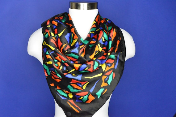 Vintage Estate Abstract Print Colorful Silk Scarf