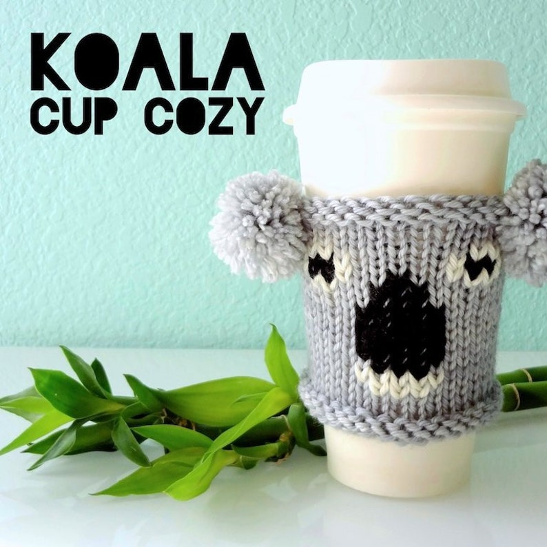 PDF knitting pattern for Koala Cup Cozy image 0