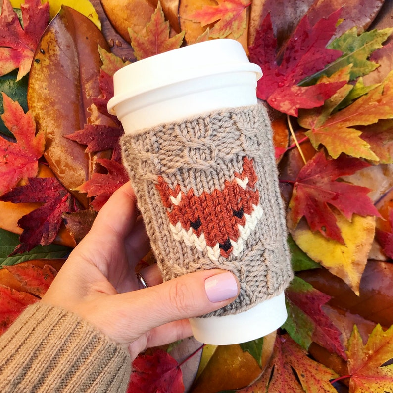 PDF knitting pattern for FOX Cup Cozy image 0