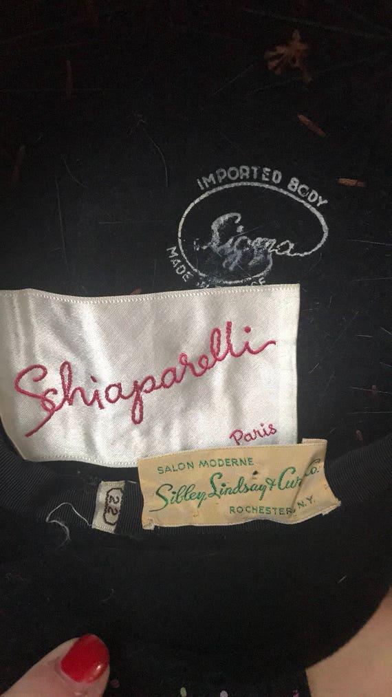 Vintage Elsa Schiaparelli Black Velvet Beaded Hat - image 5