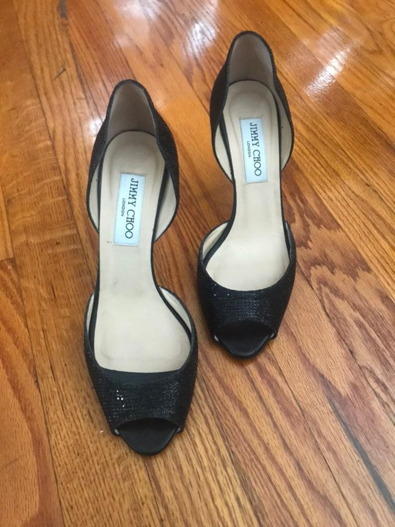 9495cc28b69 Jimmy Choo Logan Black Glitter D orsay Peep Toe Heels Size