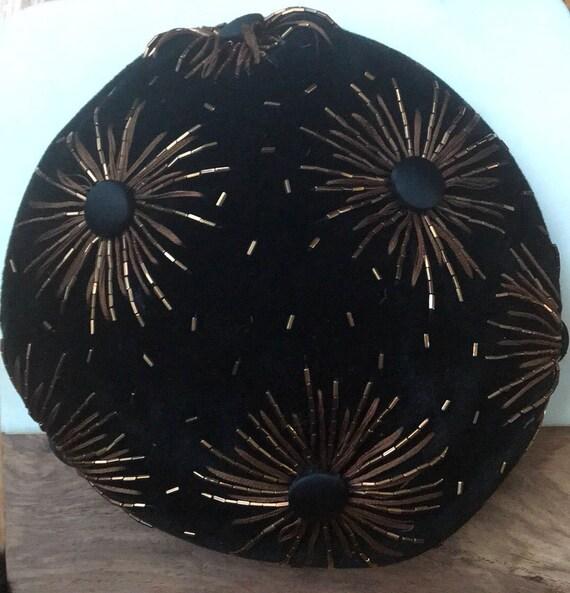 Vintage Elsa Schiaparelli Black Velvet Beaded Hat - image 8