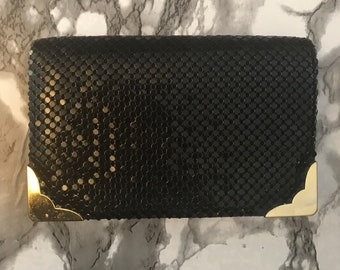 Vintage Twilight Collection Black Mesh Clutch Gold Tone Hardware