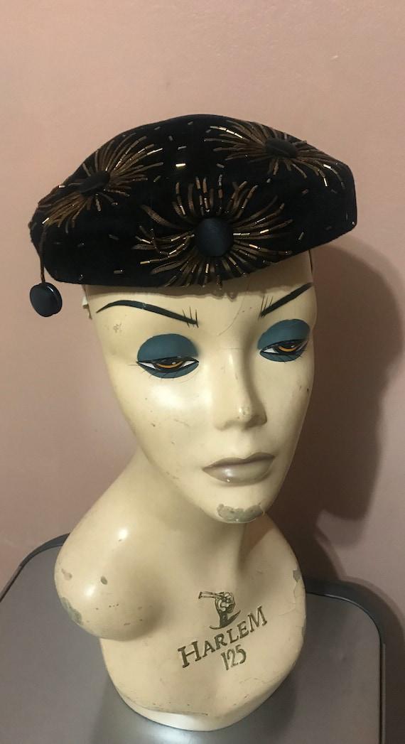 Vintage Elsa Schiaparelli Black Velvet Beaded Hat - image 10