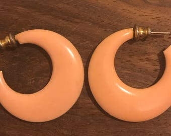 Vintage Salmon Pink Enamel Hoop Earrings