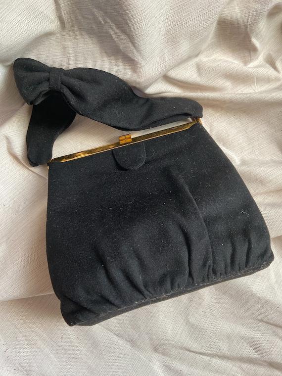 Vintage Coblentz Black Fabric Bow Handbag