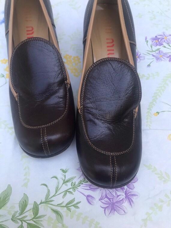 Vintage Brown Miu Miu Wedge Loafers 38.5