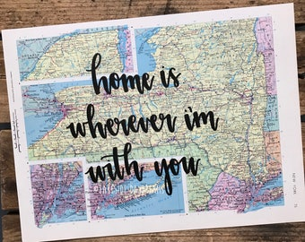 "Vintage New York map quote ""home is wherever I'm with you"" Map decor. Travel quote map decor"