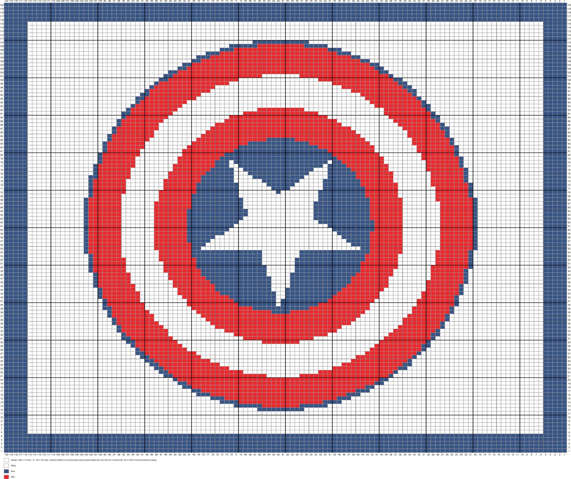Captain America Shield Crochet Afghan Pattern Written and
