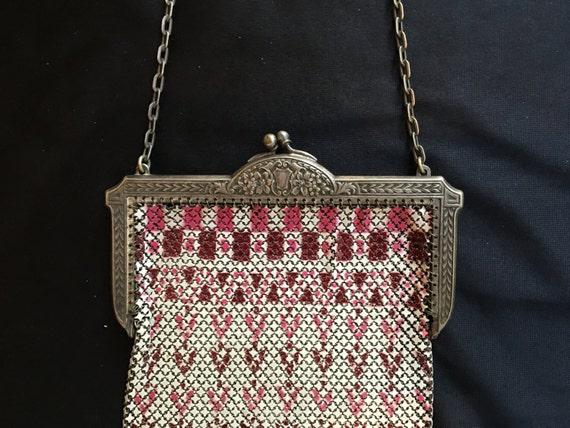 Large Mandalian enamel mesh purse with enamel drop