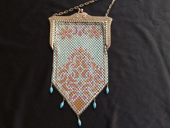 Mandalian enamel mesh purse, beautiful colors, 192