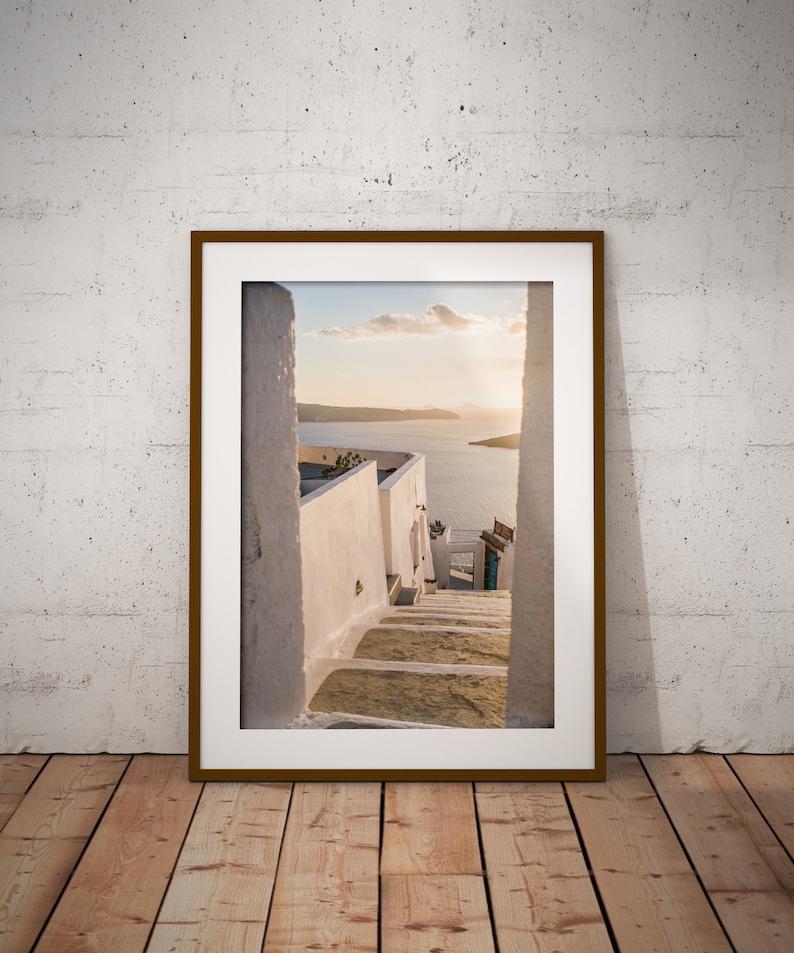 Greek Island art Santorini  print Oia steps Downloadable travel print