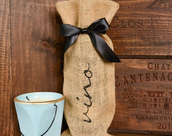 sophisticated masculine or neutral fabric gift bag with ribbon tie wine gift bag