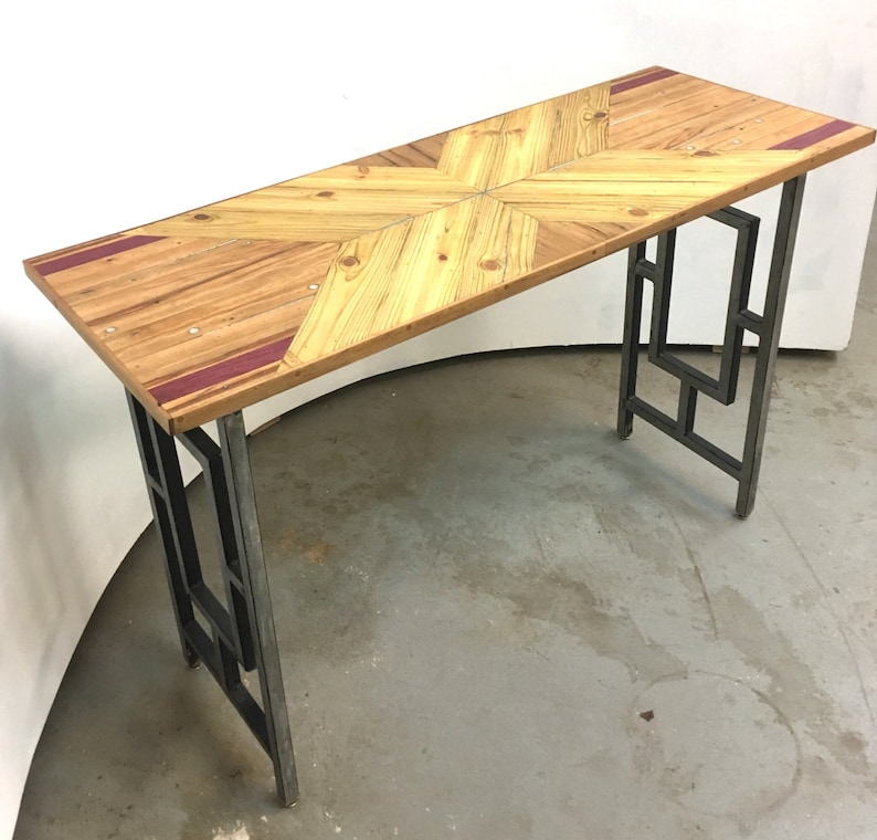 Pieced Wood Console Table On Reclaimed Metal Decorative Fence Post Legs