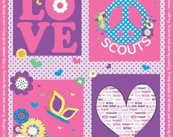 Pink Girl Scout Panel Cotton Fabric by Riley Blake Girl Scout Promise Hearts Peace Love Butterflies Flowers Cut to Order