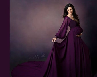 d5313285db023 Ophellia Chiffon Full Circle Maternity Gown with Long peasant Sleeves, long  train, short lining, photo prop, plum maternity dress, baby show
