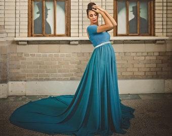 4b180dc5988 Blue maternity dress