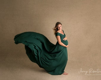 b06a7a644859c Darah forest green Maternity Dress,Off Shoulders, Short Sleeves Maternity,  Baby Shower, Bridesmaids, Photo Prop Dress / Grown , half circle