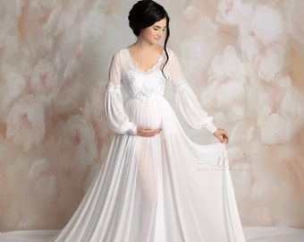 e44e0ef30ea8a Evangeline Maternity Dress, white maternity dress, angelic maternity dress,  bishop sleeves dress, full circle dress