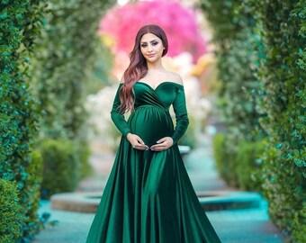 813cdaf60dd47 Velvet Darah emerald green Dress,Off Shoulders, Long Sleeves Maternity,  Baby Shower, Bridesmaids, Photo Prop Dress / Grown , half circle