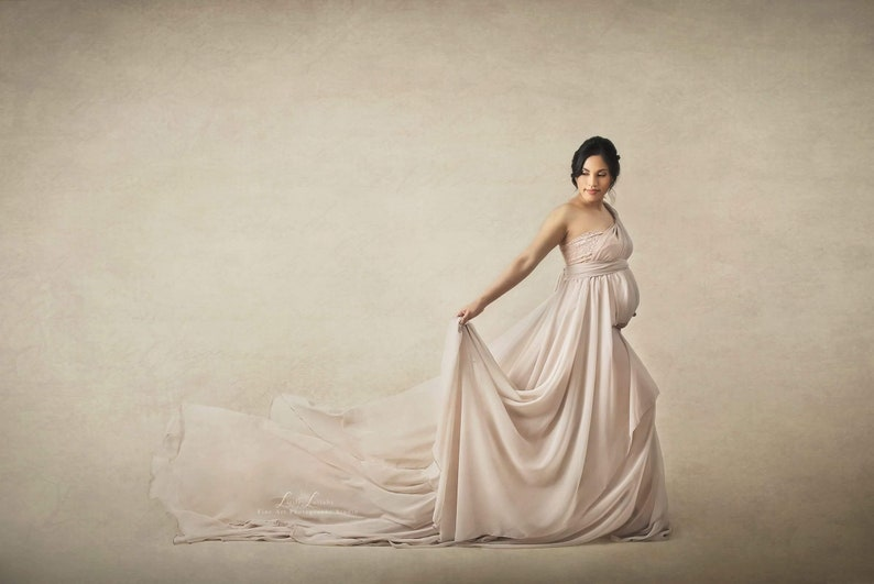 df9fae82dc Champagne Infinity Chiffon Full Circle Maternity Gown with