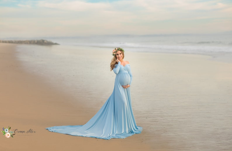 fa94b1d1029 Darah Baby Blue Maternity DressOff Shoulders Long Sleeves